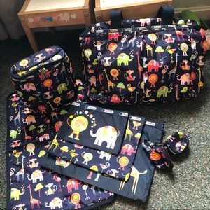 LeSportsac navy Circus print diaper bag and extras